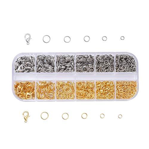 Paquete de anillos de langosta abiertos, tamaño pequeño, anillos de hierro para hacer joyas