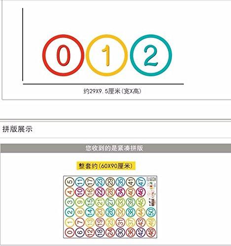 HCCY U kunt nummers kleuterschool cartoon stoel nummer label sticker bureaus rond aantal sticker muur posters verwijderen 60 * 90cm Dot