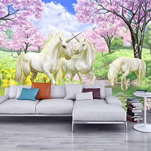 3D Fototapete Wandbild 200 cm x 150 cm Einhorn-Traumkirschblüte Vliestapeten Wandbild Wohnzimmer Wohnkultur Malerei