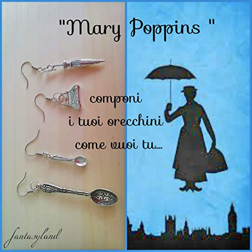Orecchini mary poppins regalo charms zucchero ombrello cucchiaino