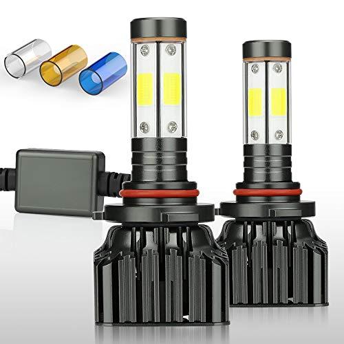 ZDATT 9005 HB3 Led Headlight Bulbs 100W 12000 Lumens High Beam, Drl Lighting Lamps 200% Brighter Car Light Replacements Conversion Kits 3000K Yellow 6000K White 8000K Blue
