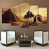 ZDDBD Cuadros de Arte de Pared decoración del hogar Cartel de Sala de Estar 5 Piezas pirámides egipcias Pintura Lienzo Puesta de Sol Desierto HD Impreso