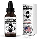 Beard Muscle Beard Growth Oil - Made in USA - Natural Unscented Organic with Biotin Jojoba, Hemp and Castor Leave in Conditioner Softener Grooming Facial Hair Fuller & Thicker Beard for Men 1 oz
