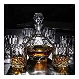 Whisky decanter 7 pieza whisky decanter conjunto 100% vidrio libre de plomo Whiskey & Spirit Decanter 800ml Tumbler beber gafas para el hogar Restaurantes y fiestas Ideal como regalo vasos cristal WUT