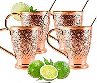 Moscow Mule Pure Copper Cups - Stunning Embossed Set of 4 Copper Mugs - Bonus Straws/Stir Sticks/Recipes- Kamojo Exclusive (Gift Set of 4)