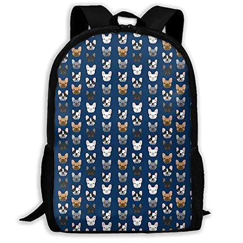 French Bulldog Navy Blue Printed School Backpacks for Girls Boys, 17' College Bookbags Lightweight Cute Primary Junior High University School Bag Daypack for Men Women