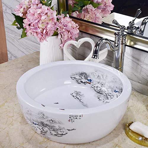 Lavabo para encimera, recipiente de cerámica, redondo, blanco, para lavar a mano, para baño, guardarropa, oficina, baño, 40 x 40 x 15 cm