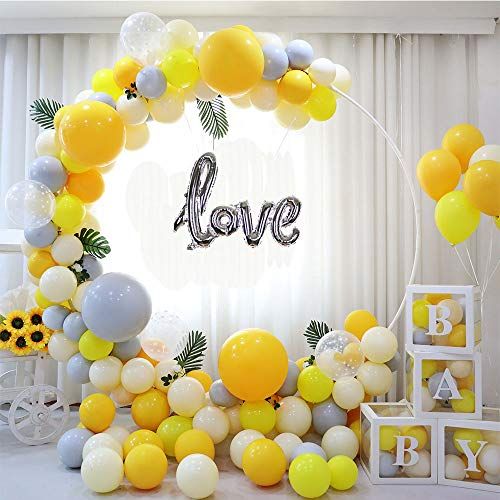 Balloon Arch Kit Yellow Orange Gray Silver 121PCS 5M Latex Balloon Garland Kit with Confetti Balloons and Balloon Arch Strip for Valentine Birthday Parties Baby Shower Wedding Backdrop Decor
