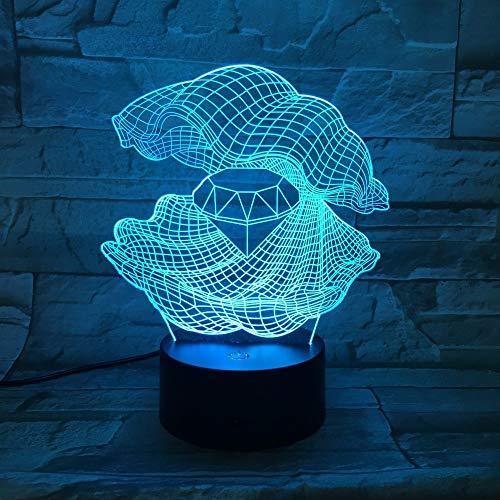 Nur 1 Stück Perlmutt 3D Nachtlicht LED Wechsel Shell Schreibtisch Tischlampe Einrichtung Diamantform Lampe als Home Decor Geschenk