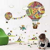 Pegatina pared vinilo decorativo globos aerostaticos ositos y pinguinos para cuartos bebes niños juegos guarderias colegios decoracion infantil de CHIPYHOME