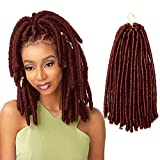 ISHINE 12 Inch Copper Red Soft Dread Crochet Hair - Authentic Synthetic Dreadlock Extensions For Braids For Black Women - Faux Locs Crochet Hair - Afro Hair Extensions For Braids (15 Strands/Pack)