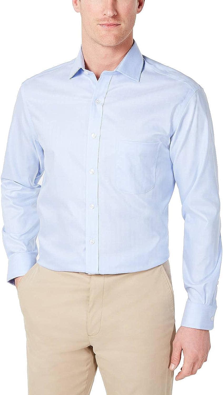 Tasso Elba Men's Classic-Fit Non-Iron Mini-Herringbone Supima Cotton Blue Dress Shirt Size 15 x 34/35 Medium