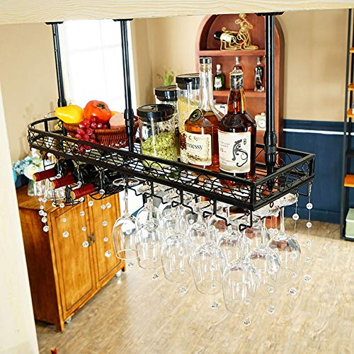 Moderne Wijnrekken Hangende Wijnrek Ondersteboven Wijnglazen Houder Kristal Decoratie Eenvoudige Hangende Wijnstandaard IJzeren Proces Plafond Decoratie Plank Met Whiskey Cup Drain Rack Voor Thuis Restaurant /