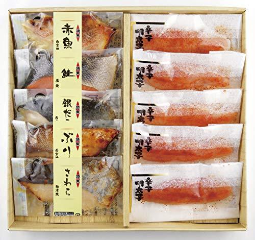 丸市食品 焼魚と個包装 辛子明太子セット[冷凍食品] レンジで簡単 食べ比べセット 焼き魚 おかず ギフト