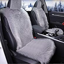 Big Ant Sheepskin Seat Covers, Sleek Design Authentic Australian Full Size Car Seat Pad Soft Long Wool Warm Seat Cushion Cover Winter Protector - Universal Fit for Cars Driver Seat Office Chair(Gray)