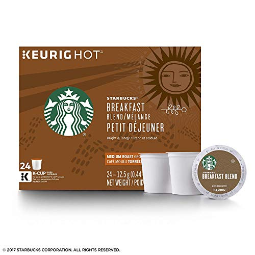 Starbucks Breakfast Blend Medium Roast Single Cup Coffee for Keurig Brewers, 24 Count