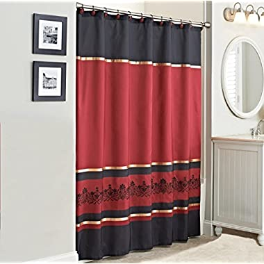 Saturday Knight Red Scroll Bathroom Collection Accessories (Shower Curtain)
