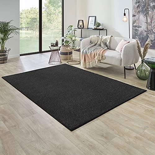 Carpet Studio Ohio Tapis Salon 160x230cm, Tapis à Poil Court et Doux, Salon, Salle à Manger & Chambre à Coucher. Facile à Entretenir - Gris Foncé