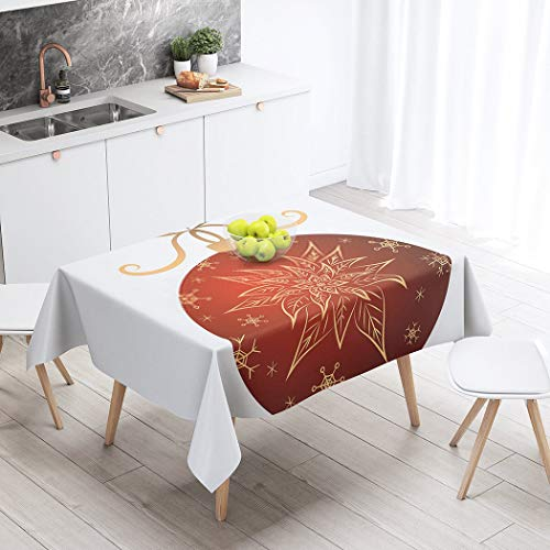 Menmek Rectangular Tablecloth Christmas Stocking Ball Red Gold Poinsettia Snowflakes Merry Happy New Year Stock 60 X 84 Inch Table Cloth Polyester Durable Printed Table Kitchen Picnic Outdoor Party
