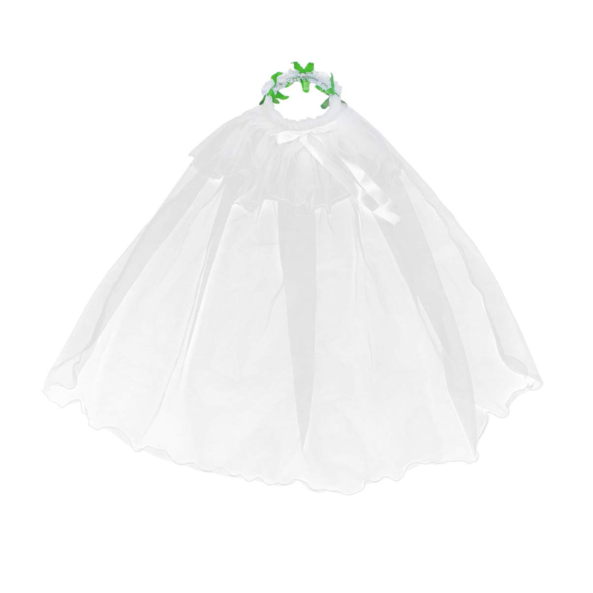 Minkissy Flower Girls Veils First Communion Veils Hair Wreath Two Layers White Wedding Veils Hair Hoop Floral Headpiece (White)