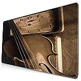 Nettes Mauspad ,Geigenmusik Alte Uhr Geigenmusik Violine Alte Geig,Rechteckiges rutschfestes Gummi-Mauspad für den Desktop,Gamer-Schreibtischmatte,15,8 'x 29,5'