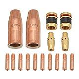 MASUNN 16Pcs M37 Mig Soldadura Antorcha Kit 0,035 Pulgadas Para Miller M-25 M-40 Boquilla De Punta Y Difusor
