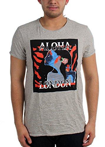 Scotch & soda–T-shirt grafica da uomo Ecru Melange X-Large