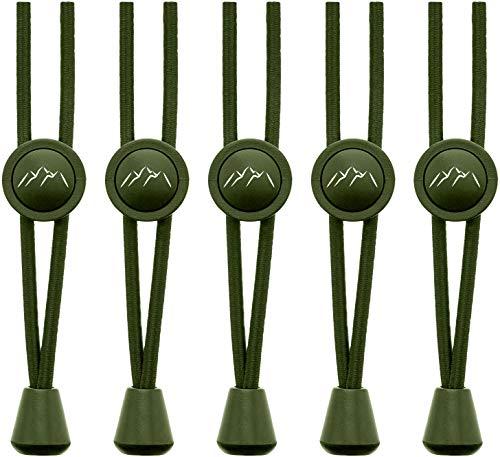 EVEREST FITNESS Sport-Schnürsenkel mit Schnellschnürsystem, elastisch, 5 Paar- schleifenlose Schnürsenkel mit Schnellverschluss (Armee-Grün)