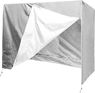 QEES Patio Swing Cover, Heavy Duty 3 Triple Seater Hammock Glider Cover, Glider Canopy Cover, Porch Swing Cover, Patio Furniture Cover Waterproof JJZ151 (Beige 1) (Grey)