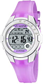 Calypso Chrono - Reloj digital infantil de cuarzo con correa de plástico rosa (luz, cronómetro) - sumergible a 100 metros