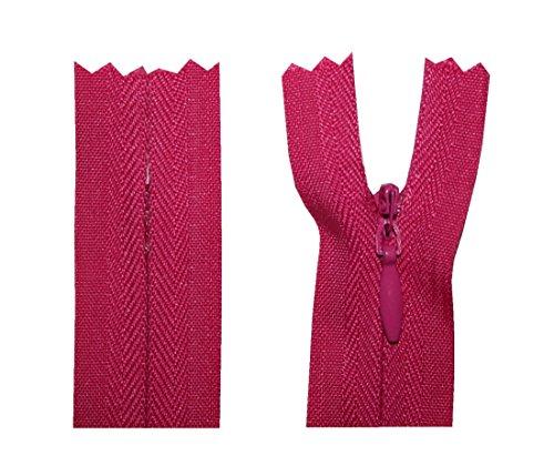 Fermetures Éclair Zipper pas divisible bordeaux rouge rose Longueurs 15 à 50 cm