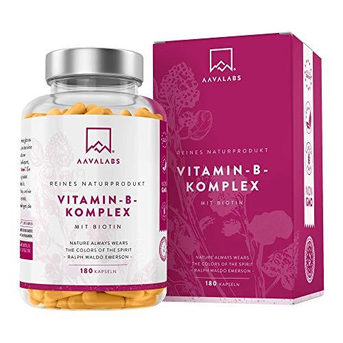Vitamin B Komplex Hochdosiert - 6 Monate Vorrat (180 Kapseln) - enthält 8 essentielle B Vitamine inkl. B12 B1 B6 B7 mit Biotin und Folsäure - 100{9715c5acc3a25d1140fb234fc81ba6cd0a9ad1ceeaf8beae4166b203bbe8a74f} vegan - getestet durch unabhängige Drittlabore