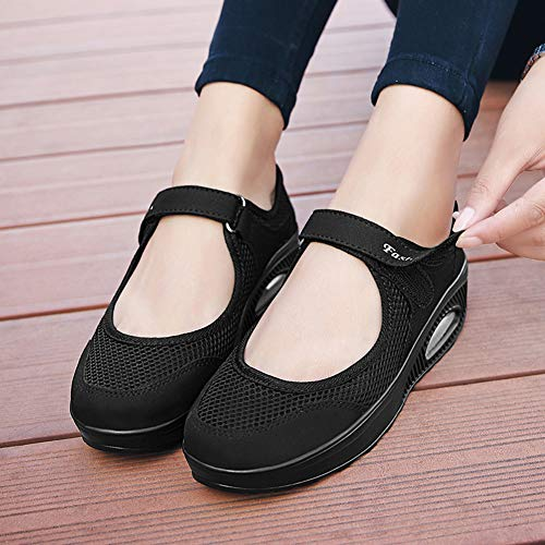 Women's Comfort Working Nurse Shoes Adjustable Breathable Wedges Slip-on Walking Sneaker Fitness Casual Shoes Mary Jane Sneaker40#,Black.