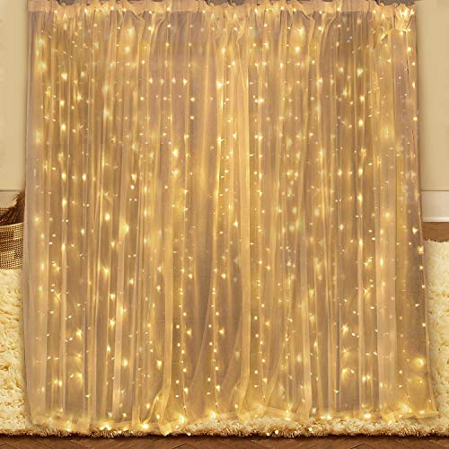 YUE GANG LED Tenda Luminosa 3x3m Catena Luminosa con 8 Modalità, 300 LED Impermeabilità IP44 Luci per Tende per Matrimonio, Natale, Festa, Decorazioni murali per Interni All'aperto(Bianco caldo)