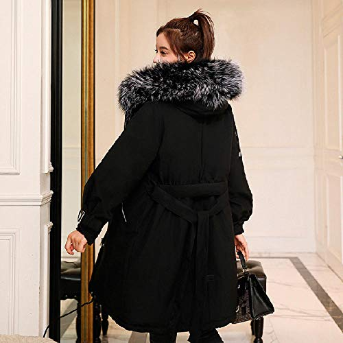 zzschs Winter Mantel Winterjacke Parka Stepp Damen Wärmender Mantel Für Mit Kapuze Wollmantel Jacke Relaxten Fashion-Style Bietet Mantel-Schwarz_XL