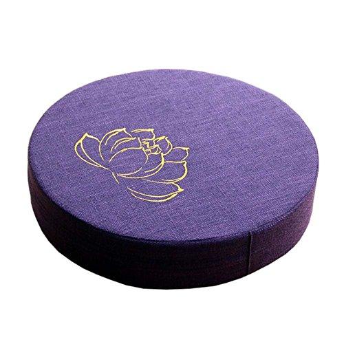 [Bordado Lotus] Budista Asiento Mat Yoga Meditación Piso Almohada Zafu, Dark Purple