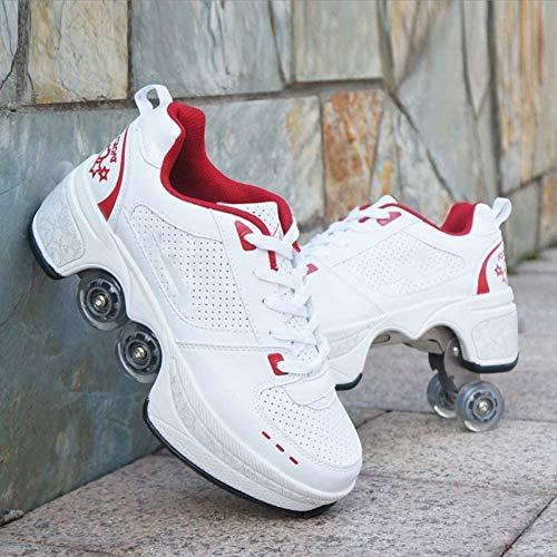 Massage-AED Zapatos con Ruedas Deformables Patines De 4 Ruedas Poleas Invisibles para Niños Adultos Patines con Rueda De Deformación De Doble Fila