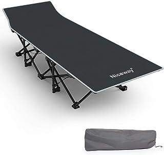 NICEWAY 折りたたみ式ベッド キャンピング ベッド アウトドアコット 組立不要 キャンプベッド レジャーベッド 簡易ベッド 野外用 持ち運び便利 仮眠・残業・防災用 昼休 収納袋付き 荷重量 220㎏