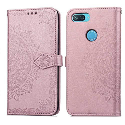 Bear Village Hülle für Xiaomi MI 8 Lite, PU Lederhülle Handyhülle für Xiaomi MI 8 Lite, Brieftasche Kratzfestes Magnet Handytasche mit Kartenfach, Roségold