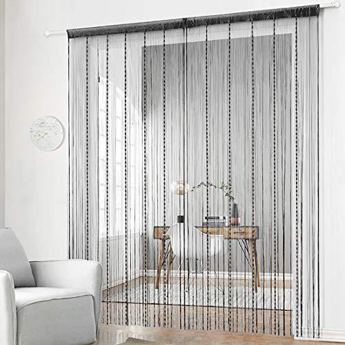 Uniai - Tenda con nappe, perline e graziose strisce, 100 x 200 cm, per porte e finestre, pannelli e divisori 100x200 Tenda lanterna nera