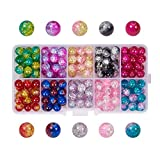 PH PandaHall 200pcs 10 Color Crackle Lampwork Glass Beads 8mm Round Handcrafted Crackle Beads Crystal Beads for Beading Friendship Bracelet Jewelry Making Christmas Tree Ornament