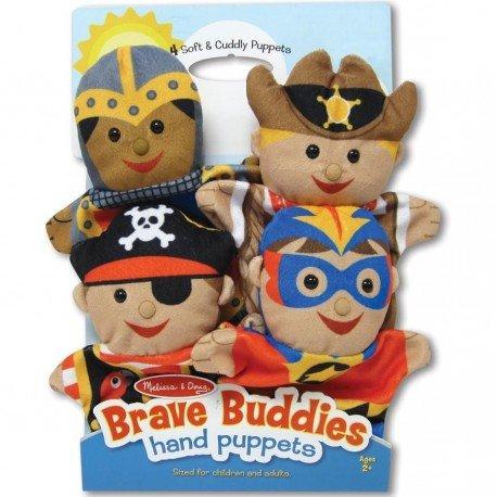 Melissa and doug - Set de 4 Marionnettes à main Super héros, chevalier, cow-boy et pirate en velours pour enfants dès 2 ans