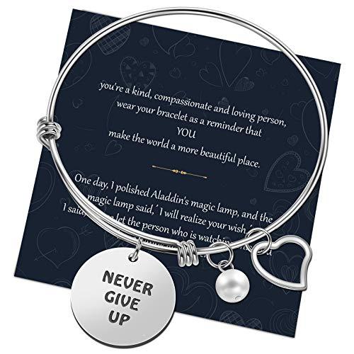 Pulsera Familia, Chritice, pulsera de la amistad, pulsera para mujer, de acero, pulsera rígida con colgante con paquete de regalo Never Give Up