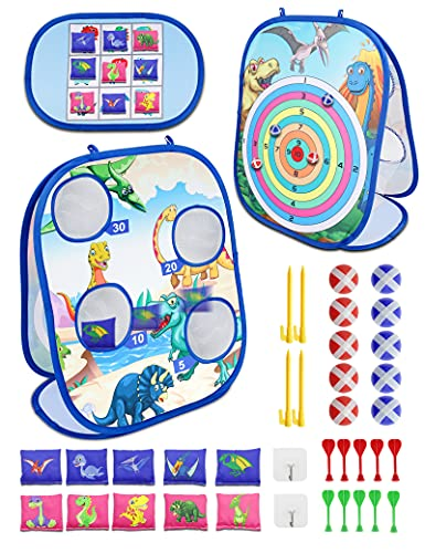 Bean Bag Toss Game Outdoor Toys for Kids Ages2 3 4 5 6 7 8 Year Old,Sticky Balls Lawn Darts Sets,Toddlers Boys Girls Adults Birthday Party Carnival Double Backyard Indoor Outside Beach