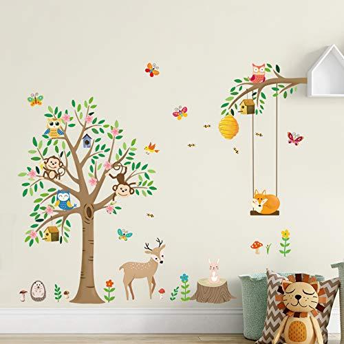 decalmile Adesivi Murali Animali della Foresta Adesivi da Parete Scimmia Gufi Cervo Decorazione Murale Camerette Bambini Camere Ragazze Asilo Nido (H:82cm)