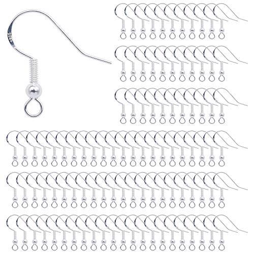Crochets de Boucle d'Oreilles 100 Pieces Crochets Oreille Argent Sterling 925 avec Boule Ressort pour DIY Fabrication de Bijoux
