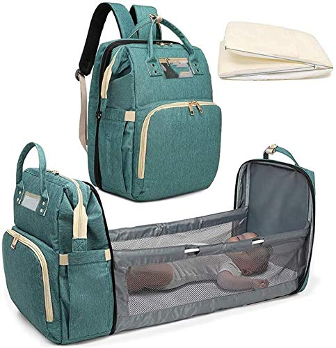Multifunctional Foldable Baby Travel Cot, Portable Diaper Changing Station Mummy Bag Backpack Diaper Travel Crib Infant Sleeper,Baby Nest with Mattress (0-12 Months)