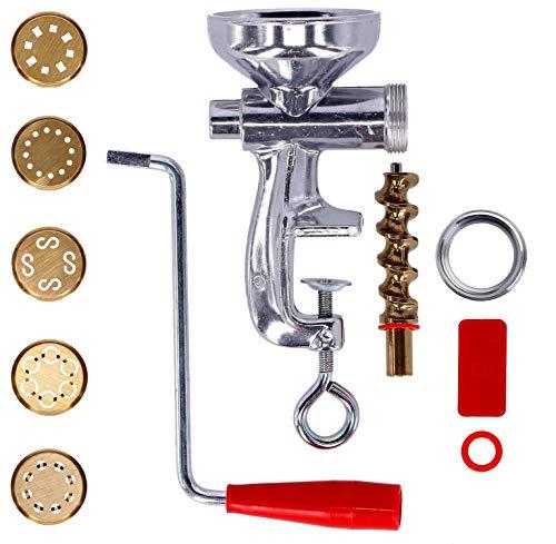 Tagliapasta.com Torchio per Pasta Fresca con Ghiera in Alluminio e 5 Trafile in Ottone | per Spaghetti, Maccheroni, Bucatini, Caserecce e Chitarra | Macchinetta Pasta Maker Tagliapasta.com [Made in Italy]