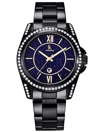 Alienwork Damen-Armbanduhr Quarz schwarz mit Edelstahl Metallarmband Kalender Datum echtes Marmor Zifferblatt Strass-Steinen elegant