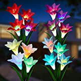 Upgraded Flowers: 4 packs of solar garden lights with durable fabric petals, flexible stems and leaves propped up by iron wire for your desired DIY style designing, big lily flowers great for garden or lawn decorations, with nice package, also as a p...